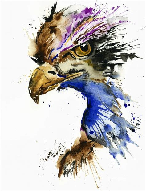 watercolor tattoo eagle eagle print wall housewarming gift artwork