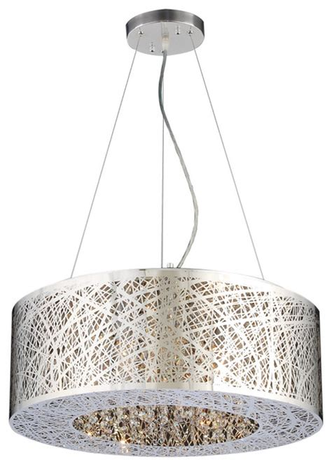 Drum Shaped Pendant Lights Nest Drum Shaped Chrome Modern Pendant Light Modern Pendant Lighting By The Elite Home