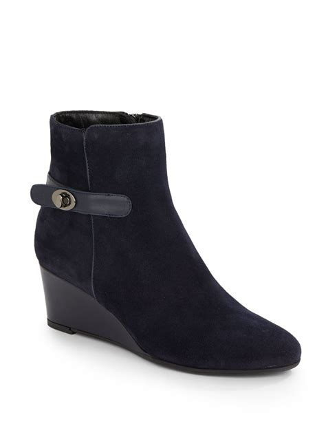 aquatalia julianna suede wedge ankle boots in blue lyst