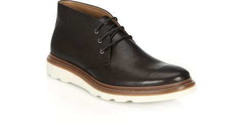 coach bedford leather chukka boots in black for lyst