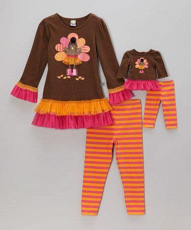 this orange turkey skirted tunic set doll