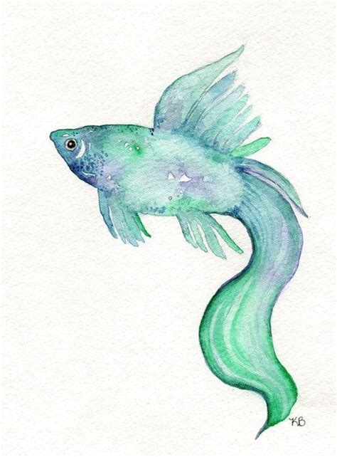 beta fish teal blue purple watercolor print 14 00