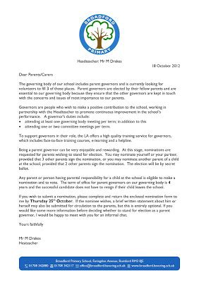 Parent Governor Letter Election Broadford Primary Parent Governor Elections Forms Attached
