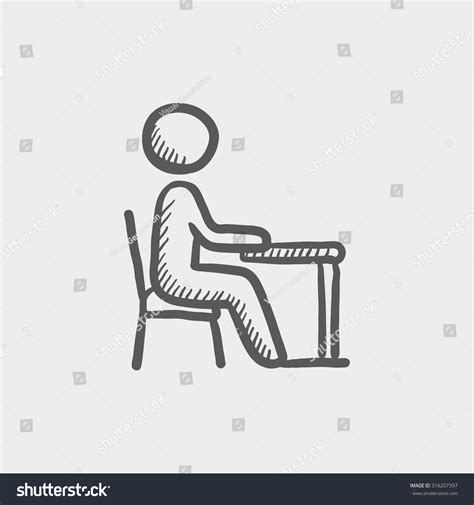 small drawing desk student sitting on chair front desk stock vector 316207397