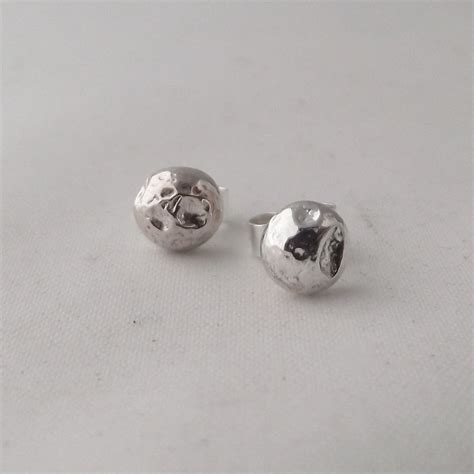 Handmade Stud Earrings - stunning handmade solid sterling silver organic form