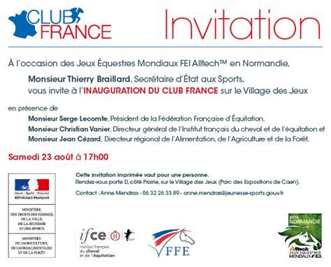 Exemple De Lettre D Invitation Inauguration Invitation 224 L Inauguration Du Club Aux Jeux