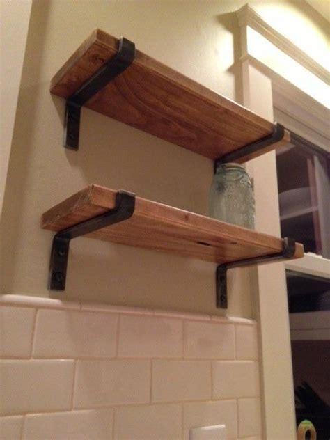 custom  wood shelves  metal brackets