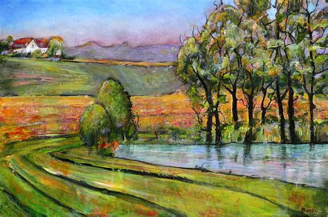 Landscape Pictures By Artists Landscape Scenic Fields Painting By Blenda Studio
