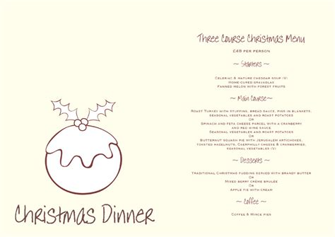 christmas menu templates free word