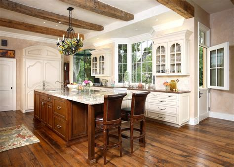 Wood beam ceiling designs kitchen traditional with walnut