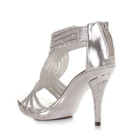 silver prom shoes high heels silver womens diamante wedding high heel prom shoes