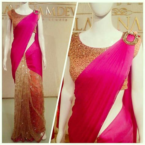 design dress from saree beautiful modern styled sari in hot pink n glittering gold