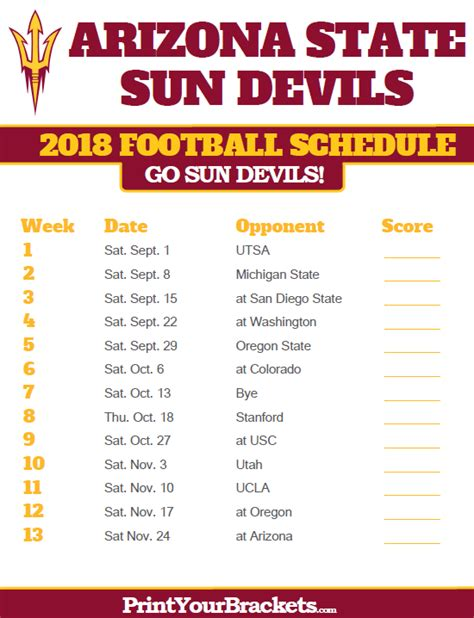 printable suns schedule arizona state sun devils 2018 football schedule printable