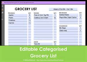 Editable Grocery Shopping List Template 8 Best Images Of Editable Grocery List Printable