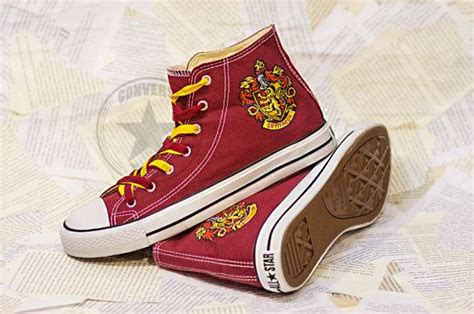 harry potter house shoes harry potter house gryffindor emblem sneakers by conversetogo 99 00 shoes pinterest