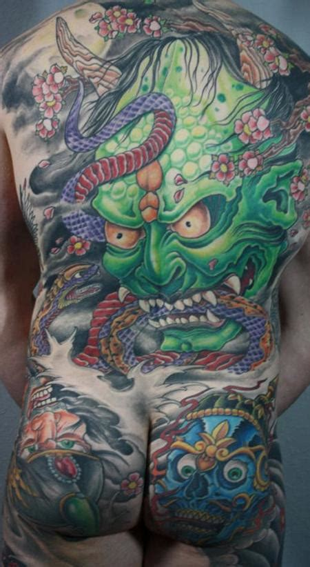japanese hannya mask back tattoo hannya mask japanese backpiece by bart andrews tattoo