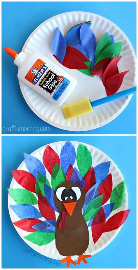 Arts And Crafts Using Paper Plates - paper plate turkey craft using tissue paper easy
