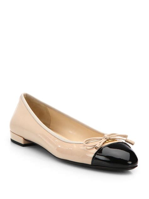 patent flats shoes prada patent leather cap toe ballet flats in black lyst