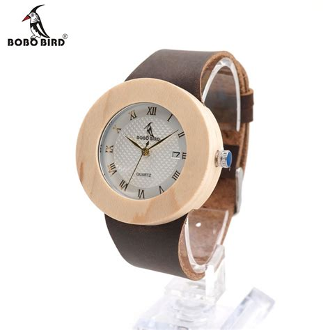 Bobo Bird A22 Bamboo Wood Quartz With Logo Pointer In Gift Box bobo bird s design brand luxury wooden bamboo watches with real leather quartz