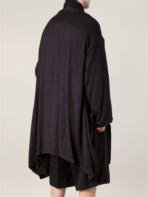 draped coats yohji yamamoto draped coat in black for men lyst