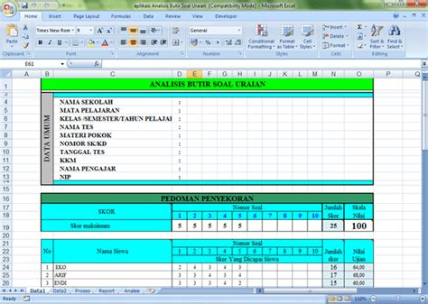 format analisis butir soal uraian aplikasi analisis soal pilihan ganda isian dan uraian