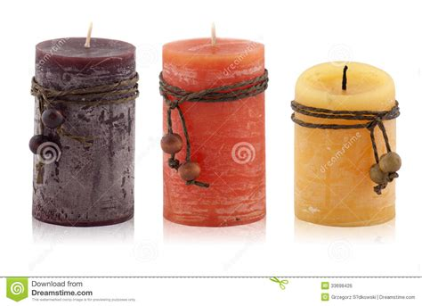 candele decorative candele decorative su un fondo bianco immagine stock