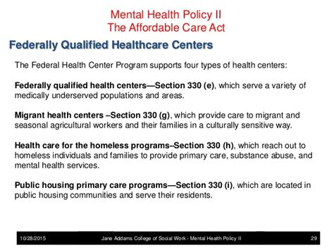 section 330 grant mental health policy the affordablle care act and mental