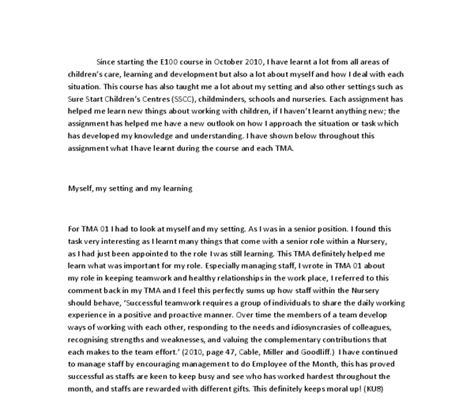 Self Reflection Essay by Self Reflection Essay For Tma 01 I Had To Look At Myself And My Setting As I Was In A Senior