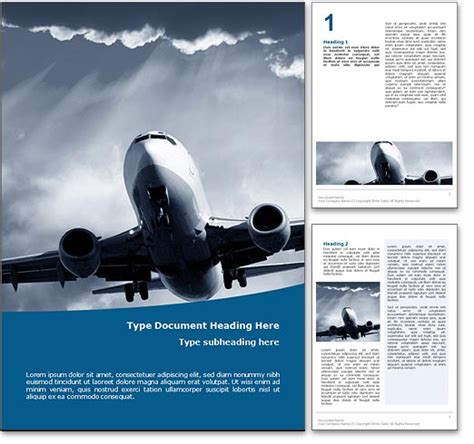 royalty free air travel microsoft word template in blue