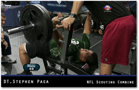 strongest football player bench press nfl combine stephen paea breaks combine bench press record