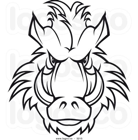 wild boar face drawing