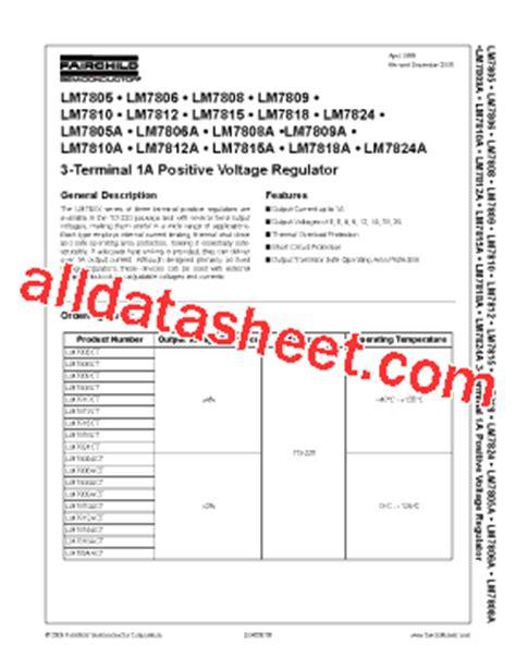 transistor lm7805 lm7805 datasheet pdf fairchild semiconductor