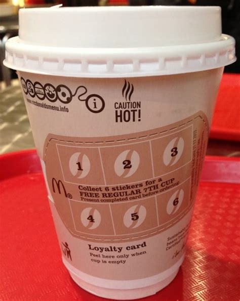 Coffee Mcd mcdonalds mccafe loyalty card in select areas free