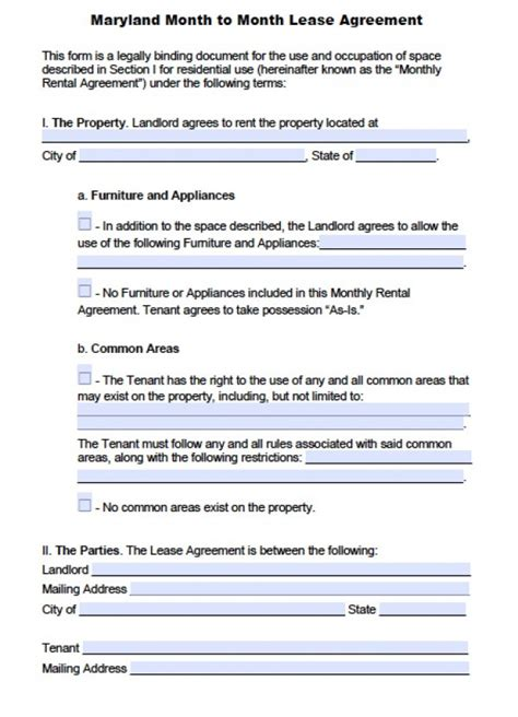 Free Maryland Month To Month Lease Agreement Pdf Word Doc Md Lease Agreement Template