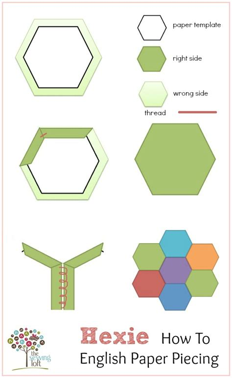 paper pattern english 10 half hexagon template