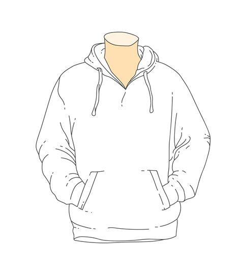 Blank White Outline Hooded Sweatshirt Template Download Free Vector Art Stock Graphics Images Hoodie Design Template Free