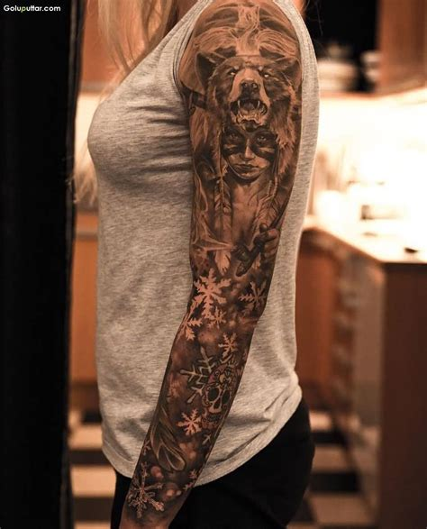 girl tattoo sleeve arm tattoos