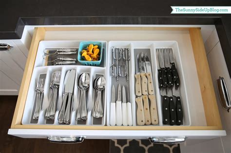 Grey And White Kitchen Cabinets Organized Silverware The Sunny Side Up Blog