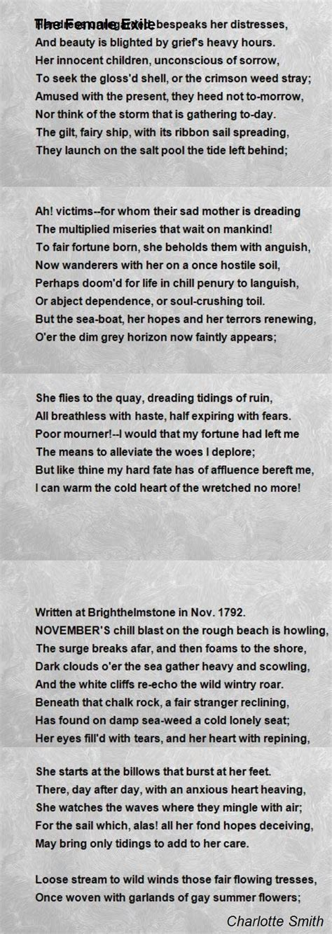 biography poem exle the female exile poem by charlotte smith poem hunter