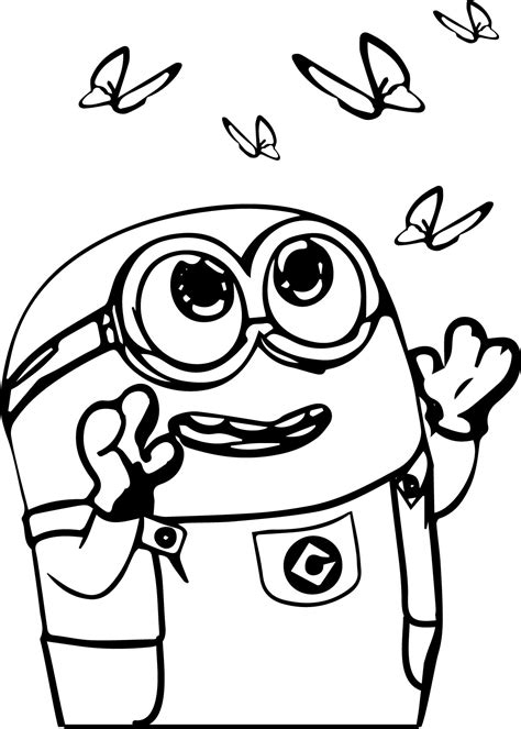 coloring pages cute minions minion catch butterfly coloring page riscos bebe