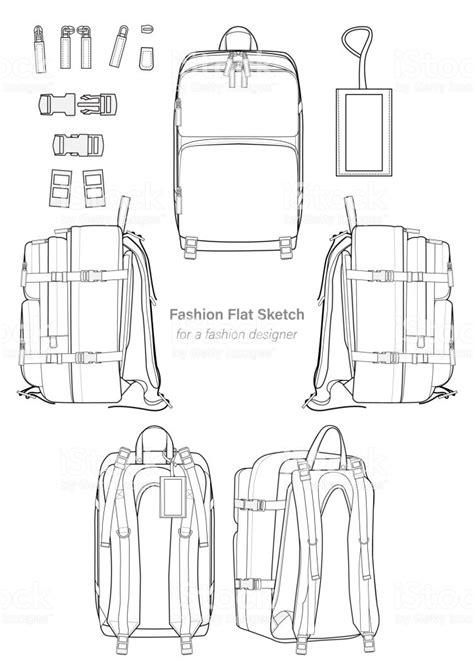 Backpack Design Illustration Flat Sketches Template Stock Vector Art More Images Of Backpack Backpack Design Template