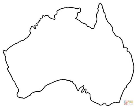 Outline Map Of Australia Coloring Page Free Printable Australia Map Coloring Page