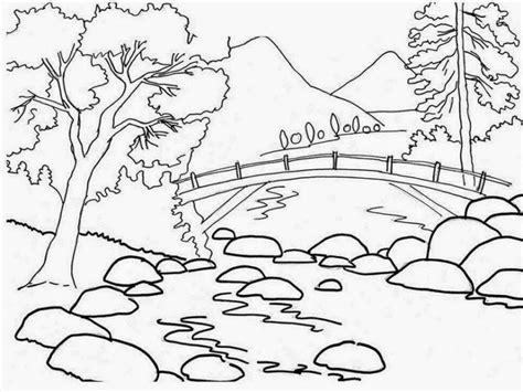 15 contoh sketsa gambar pemandangan alam yang mudah ditiru