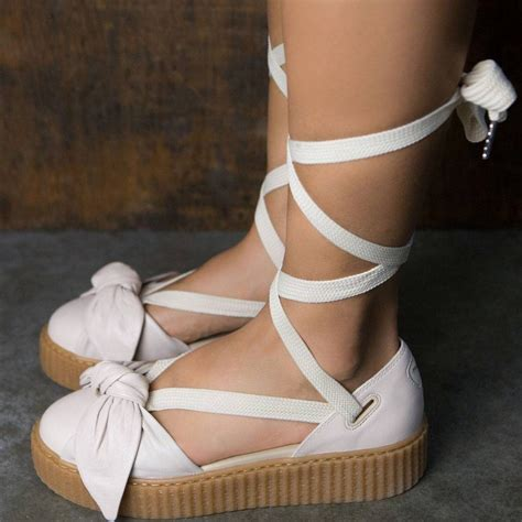 Rihanna Bow Crepers White x fenty by rihanna bow creeper sandal pink pink