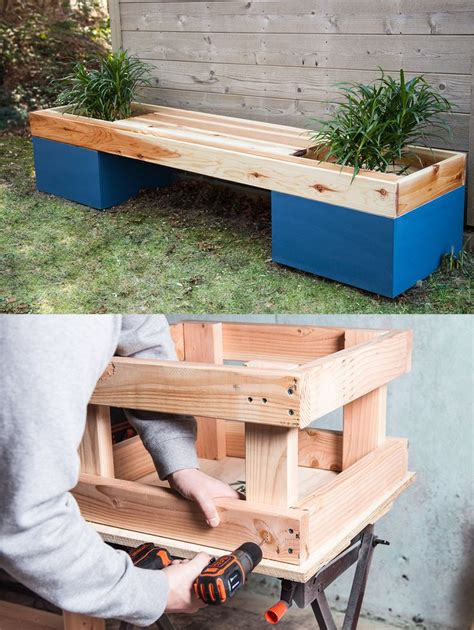 flower pot bench plans how to build a planter bench diy furniture pinterest