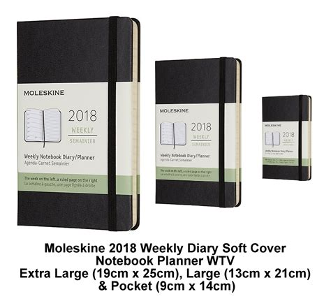 moleskine black 2018 diary weekly planner soft cover notebook pocket large xl ebay
