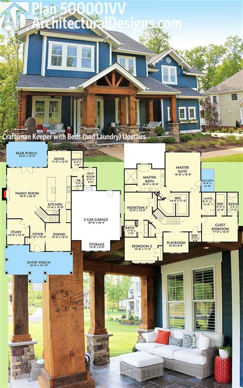 upstairs house plan 500001vv craftsman keeper with beds and laundry