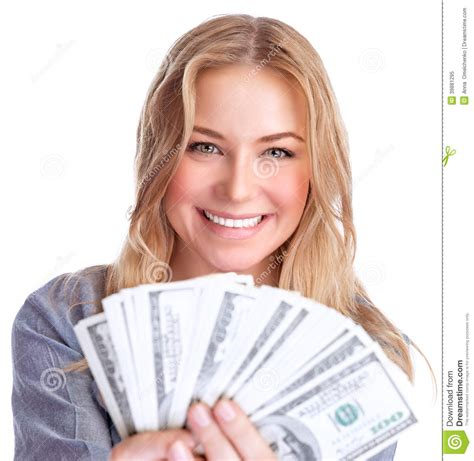 Money Winning - cute girl winning money stock photo image 39881295