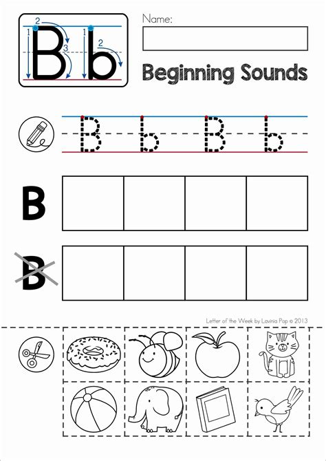 printable alphabet letters and sounds free phonics letter of the week b beginning sounds cut