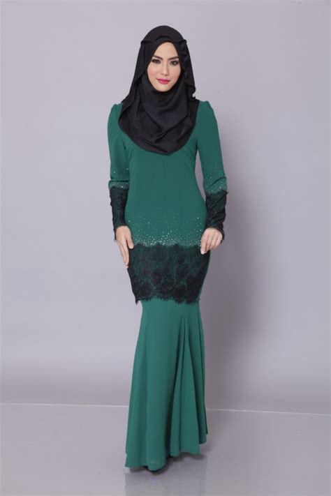 Baju Dress Hijau Emerlad kurung moden emerald green carya zara